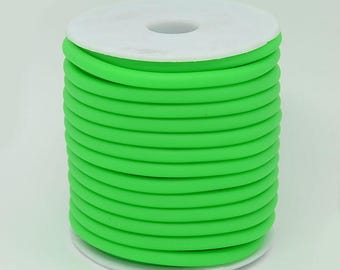 Neon Green Silicone cord, 5mm hollow, 3mm hole, 6 feet