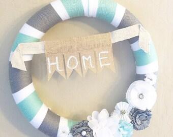 Ready to Ship, Yarn Wreath, Spring Wreath, Summer Wreath, Everyday Wreath, Wedding Gift Farmhouse Chic Decor,  Shabby Chic Decor, Handmade