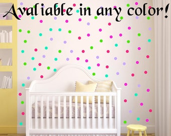 "40 Colors! 100 Peel and Stick 1"" Polka Dot Wall Decals Kids Rooms Nursery Decor Bedrooms Peel and Stick Dots Baby Decor Self Adhesive Vinyl"