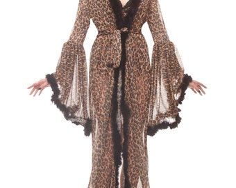 Boudoir Leopard Dressing Gown Burlesque Animal Print Dressing Gown Stage Dress Marabou Feather Robe
