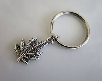 Silver tone weed charm - zipper pull jackets purses - weed zipper pull - weed charm zipper pull - key chain weed - weed charms for key chain