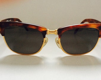 Vintage Jean Paul GAULTIER Matt Tortoiseshell & Matt Gold Clubmaster Sunglasses