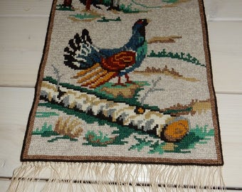 Swedish hand embroidered wall hanging 1970 s /a bird