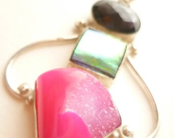 Beautiful pink agate druse / amethyst / mother-of-pearl pendant