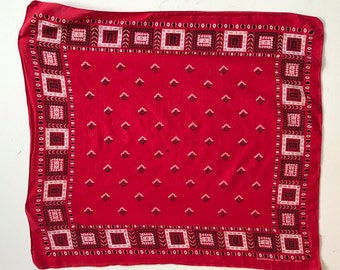 Vintage 60s BANDANA / 1960s Fast Color TUSIDE Red Cotton Large Handkerchief