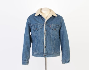 Vintage 80s LEVI'S JACKET / Vintage 1980s Medium Blue Sherpa Lined Denim Jean Trucker Jacket M