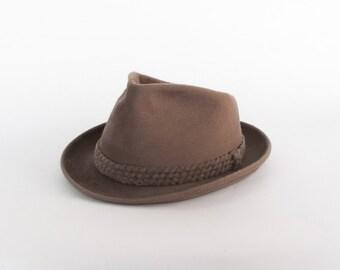 Vintage 60s FEDORA / Men's 1960s Brown BORSALINO Fur Felt Angled Diamante HAT 7 1/4