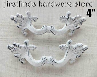 2 Cast Iron Handles White Shabby Chic Furniture Hardware Painted Metal Dresser Drawer Cabinet Heavy Cottage Pulls 4inch DETAILS LISTED BELOW