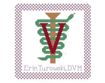 Veterinary/Veterinarian Gift - Cross Stitch Pattern - Veterinary Rod of Asclepius Wall Hanging (Electronic PDF Copy)
