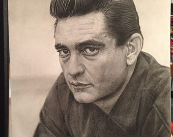 ORIGINAL Pencil Drawing Print of Johnny Cash (9 x 12)
