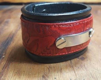 Black and red leather cuff bracelet