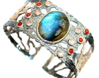 Labradorite, Carnelian, Calcite Sterling Silver Bracelet - weight 49.00g - dim 1 1 4 inch - code 2-mar-17-31