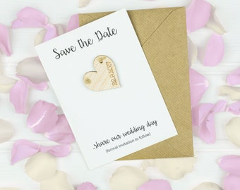 Save The Date Magnetic Heart Card - Wedding Stationery - Rustic Wedding - Wooden Wedding - Wedding Inspiration  - Wedding Invitation - Bride