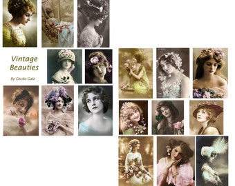 VINTAGE BEAUTIES digital collage set