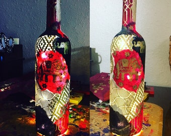 Custom Wine Bottle Lamp, Unique Wine Bottle Lamps, Nepalese Lokta Paper, Morrocan Home Decor Lamp