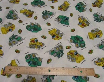 White with John Deere Toy Tractors Cotton Fabric by the Yard
