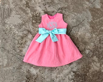 Toddler girl Easter dress, monogrammed baby girl clothes, Easter dresses for little girls, personalized easter outfit, coral and mint