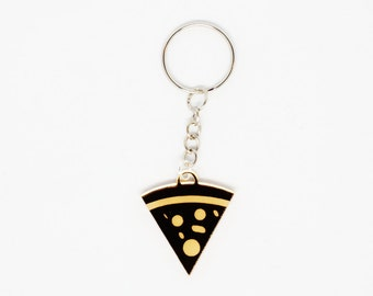 Golden Pizza Keychain