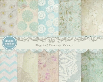 ON SALE Digital Scrapbooking Papers pack, 12x 12 in 300 dpi vol.46 - INSTANT Download