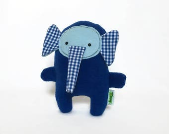 Blue Stuffed Elephant, Blue Plush Elephant, Elephant Stuffed Animal, Plush Toy, Baby Shower Gift, Gift for Baby, Birthday Gift for Boys, Toy