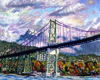 Art Print, The Lions Gate, Vancouver City Bridge Art
