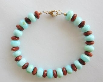 Peruvian Blue Opal & Goldstone Bracelet, Turquoise, Brown, Gold Filled