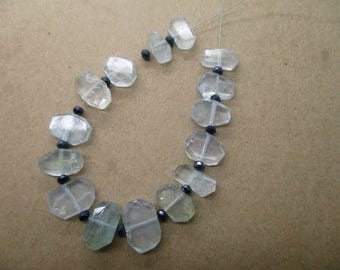 Aquamarine Faceted 15 Pc Flat faceted beads  hand polished -26A