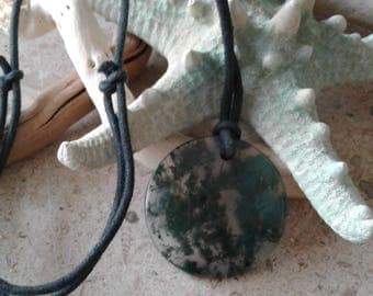 Vintage Moss Agate Gemstone Pendant Necklace
