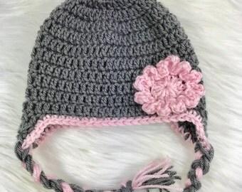 Crochet baby hat, earflap hat , baby hat, grey hat, baby girl hat
