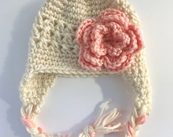 Newborn baby hat, newborn earflap hat, baby girl hat, crochet baby hat, crochet hat with flower, 0-3 month baby hat