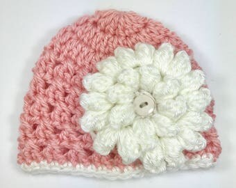 crochet baby hat, premie baby hat, baby hat, crochet hat, baby girl hat, peach hat