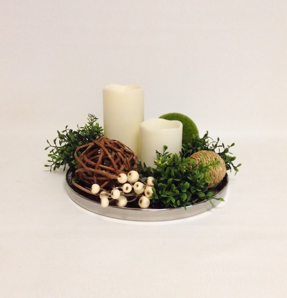 Round Artificial Arrangement with Candles / Mixed Greens / Faux / Artificial Arrangement