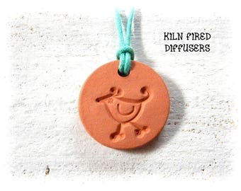 Kids Small Essential Oil Diffuser Necklace Pendant Little Bird Terracotta Clay Jewelry Hypoallergenic Eco Friendly Organic Natural Remedy
