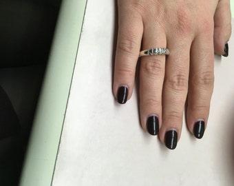 Georg Jensen Silver Ring 307 Size 6.5 Vivian Torun dotted oval
