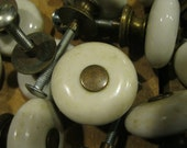 Porcelain Knobs-Ceramic knobs-salvaged knobs-cabinet pulls-vintage hardware-replacement knobs