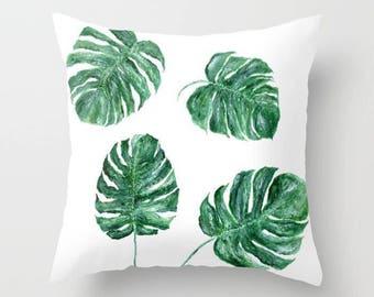 Monstera Leaf Throw Pillow Cover, tropical leaf pillow, monstera leaf pillow, palm leaf pillow, botanical pillow, modern pillow