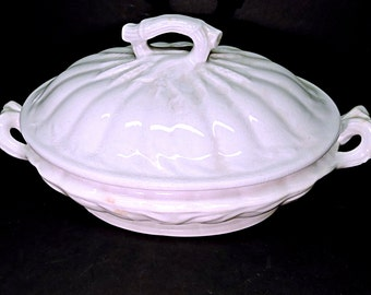 White Ironstone Lidded Tureen Wheat Pattern Antique English Serving Dish