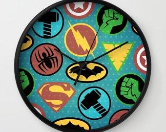 Superhero Wall Clock, Superheros Wall Clock, Superhero Gift, Batman, Colorful, Comics, Decorative Accent, Kids Room Decor, Home Accessories