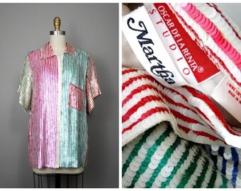 Oscar de la Renta All Sequined Top // Rainbow Striped Fully Embellished Blouse Size 12
