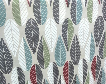 Tablecloth beige red grey green teal leaves Abstract Modern Scandinavian Design , napkins , runner , curtains , pillow covers , great GIFT