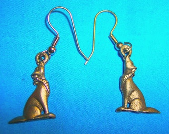 """Howling Coyote with Scarf Earrings, Handmade, Gold Plate, Lead Free, Nickel Free, 3/4"""" X 5/8"""""""