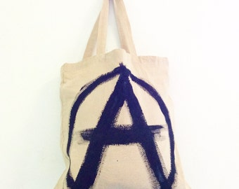 READY to SHIP Anarchy TOTE Shopper Cotton Eco Unisex Handheld Bag / Eve Damon