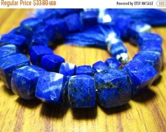 """HUGE SALE Lapis Lazuli Faceted 3D Cubes- 7"""" Strand -Stones measure -6-8mm"""