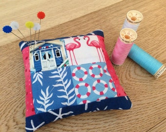 Patchwork pincushion , nautical design pink and blue pincushion , modern one of a kind pincushion , gift for sewers, weighed pincushion