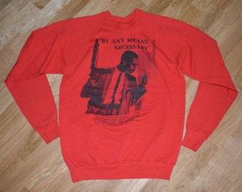 1990's MALCOLM X Sweatshirt vintage original gun rifle spike lee t-shirt (L/XL) Large 80's 90's Hip-Hop Screen Stars Mens Gift