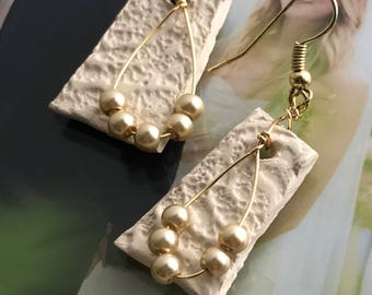 Champagne Lace Impressed Dangle Earrings with Faux Pearls and Gold