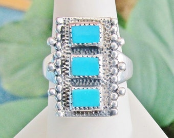 Vintage Turquoise Ring Carolyn Pollack Sterling Silver Southwestern Ring Size 9+