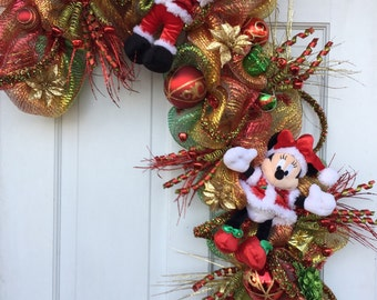 Mickey Mouse Christmas, candycane wreath, Red green gold, Mickey Minnie mouse, Disney Christmas, Christmas wreath, Deco mesh wreath
