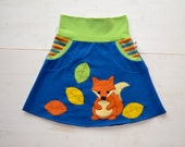 Cute girl fox appliqué skirt,toddler girl fox clothing,Christmas gift,toddler gift,kids winter,comfortable jersey skirt, 18 moths-8 years