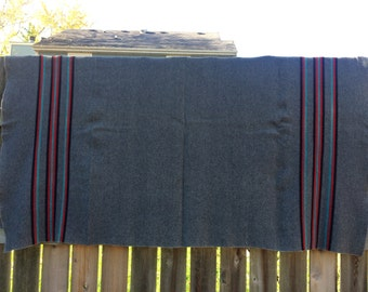 FREE SHIPPING - Vintage grey blanket with black, red and turquoise stripes